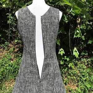 Monteau Dresses - A-Line Dress Tweed Sleeveless Gray Pockets Mini M